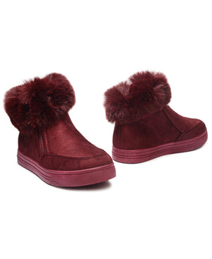 Girls Fluff Sneakers - Burgundy