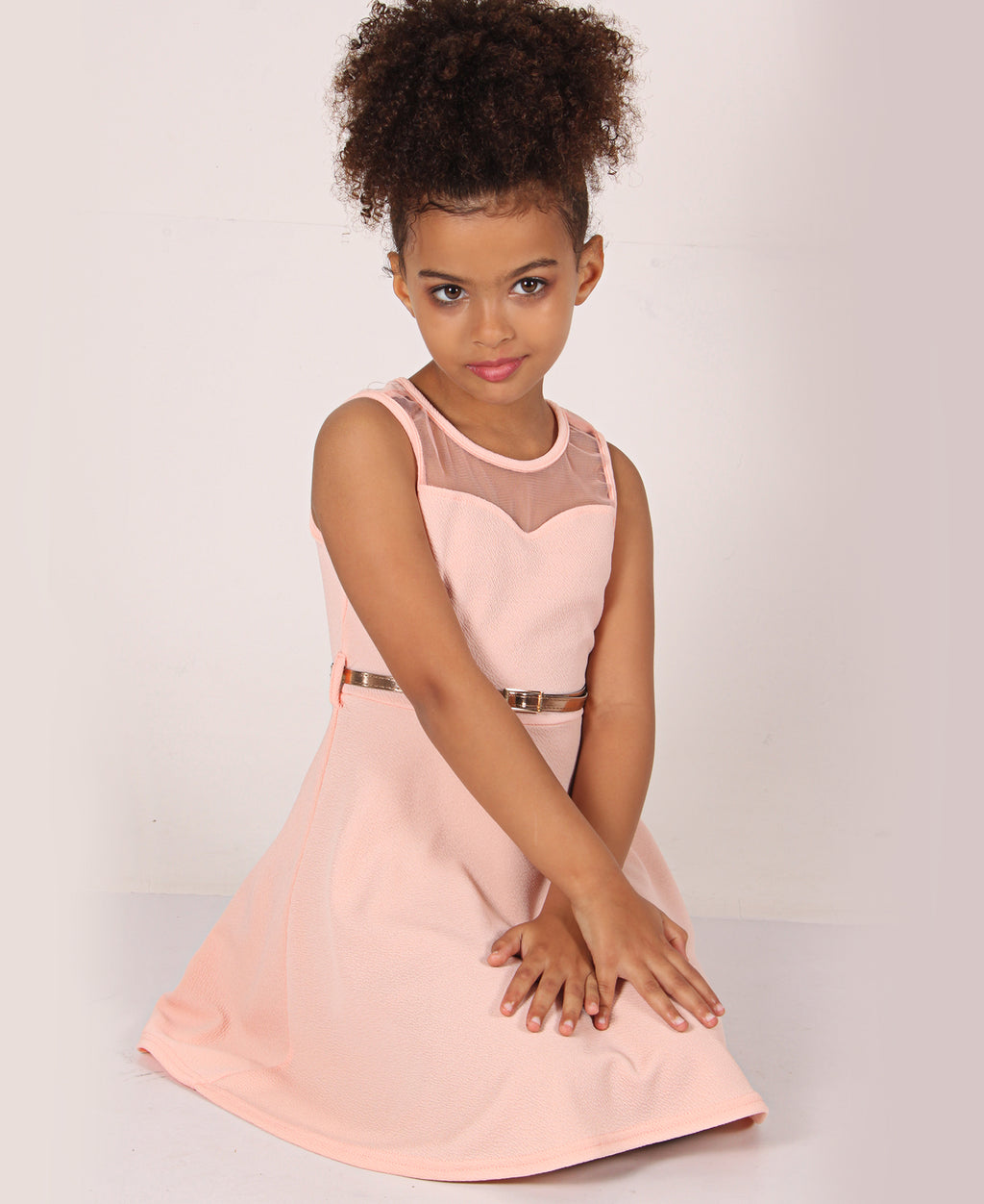 Girls Sheer Neckline Dress - Peach
