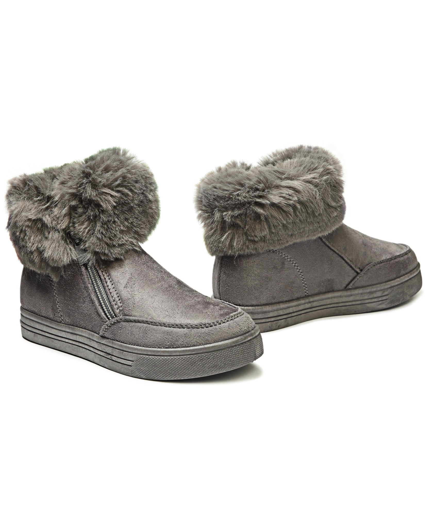 Girls Fluff Sneakers - Grey