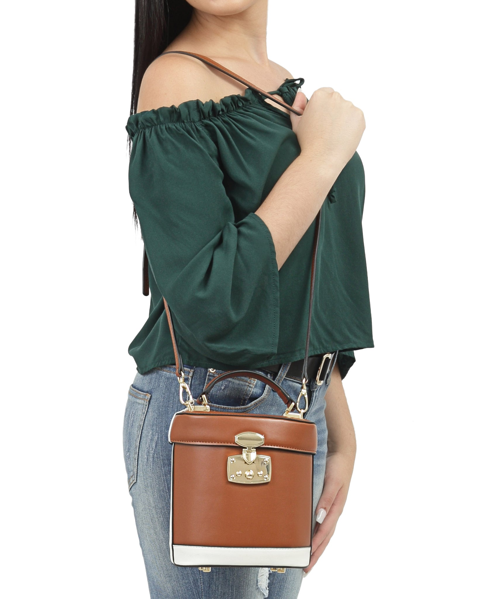 Genuine Leather Bucket Bag - Tan