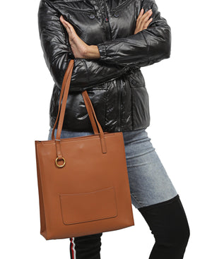 Genuine Leather Shopper Bag - Tan