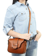 Genuine Leather Crossbody Bag - Tan