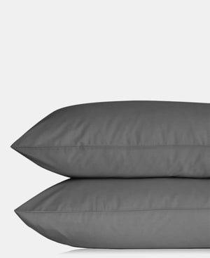 2 Pack Plain Pillowcases - Charcoal