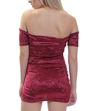 Velour Dress - Burgundy