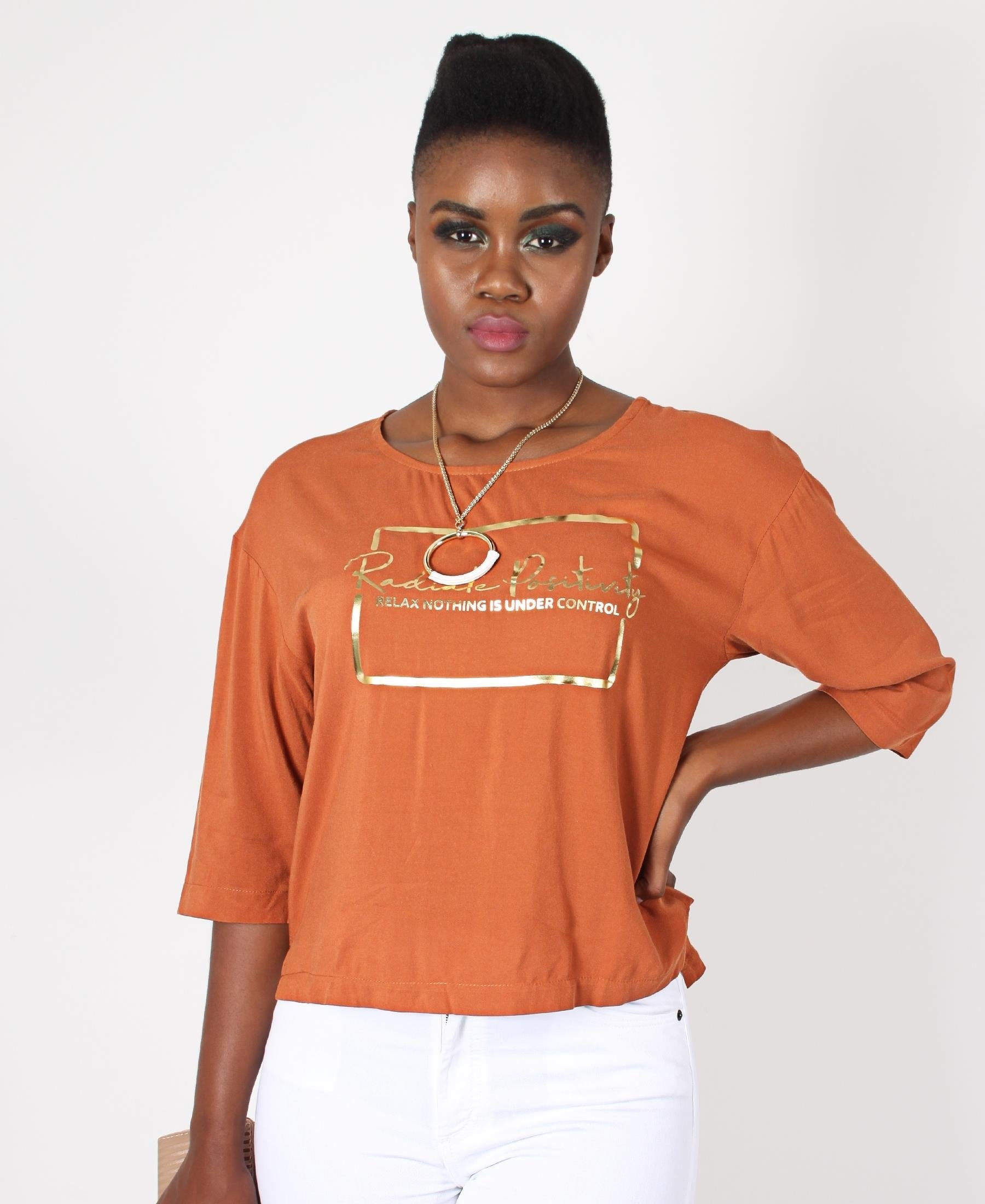 Printed High Low Top - Rust