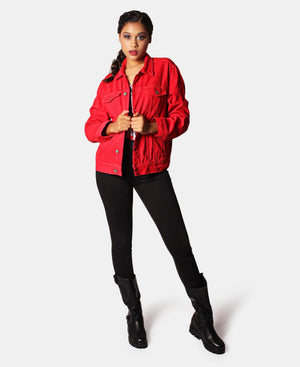 Ladies' Denim Jacket - Red