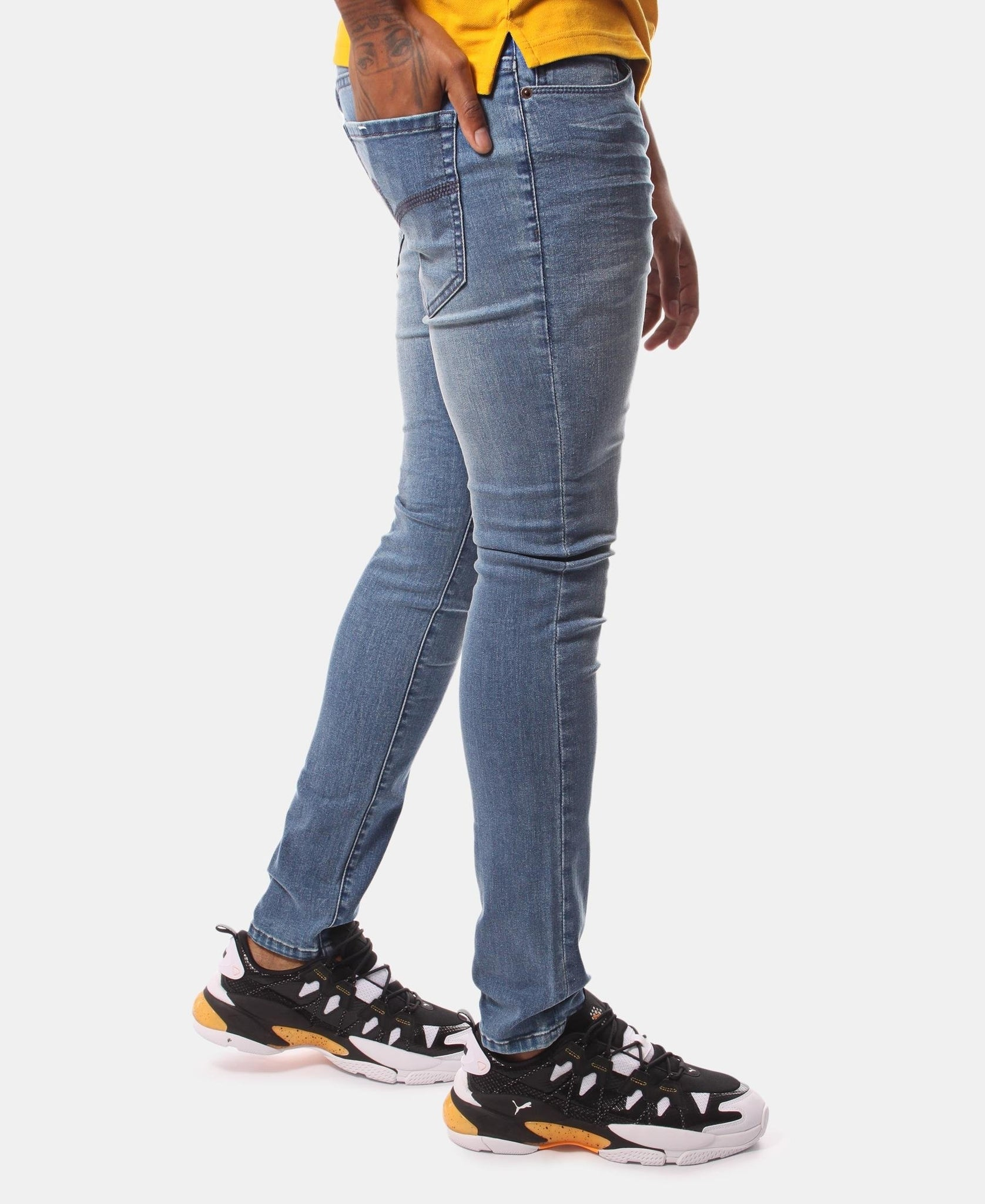 Men's Straight Skinny Jeans - Light Blue