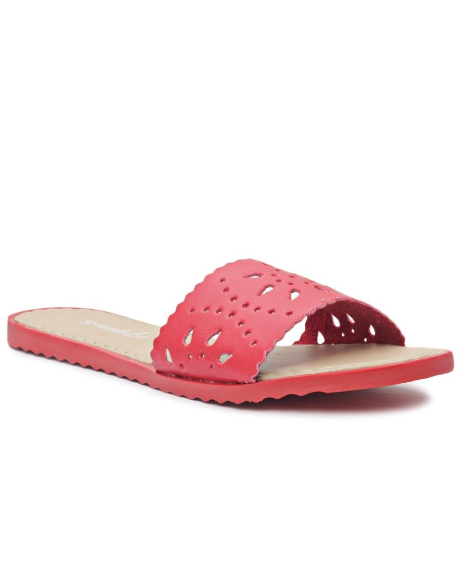Lazer Cut Sandals - Red