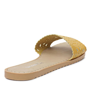 Lazer Cut Sandals - Mustard