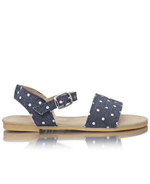 Girls Denim Sandals - White