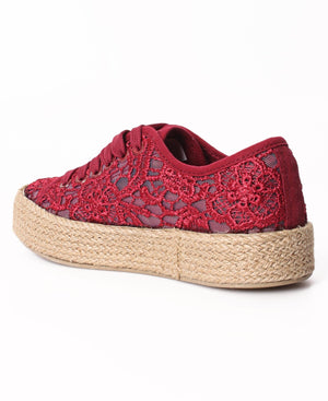 Ladies' Casual Sneakers - Burgundy