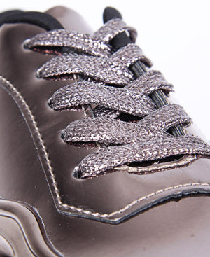 Ladies' Casual Metallic Sneakers - Pewter
