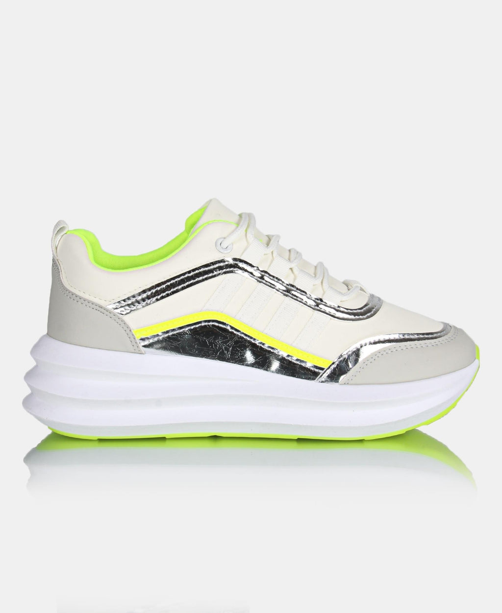 Ladies' Casual Sneakers - White-Yellow