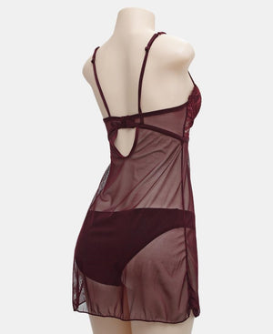 Embroidery Night Dress - Burgundy