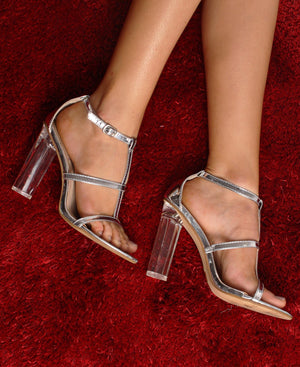 Block Heel Strappy Sandals - Silver