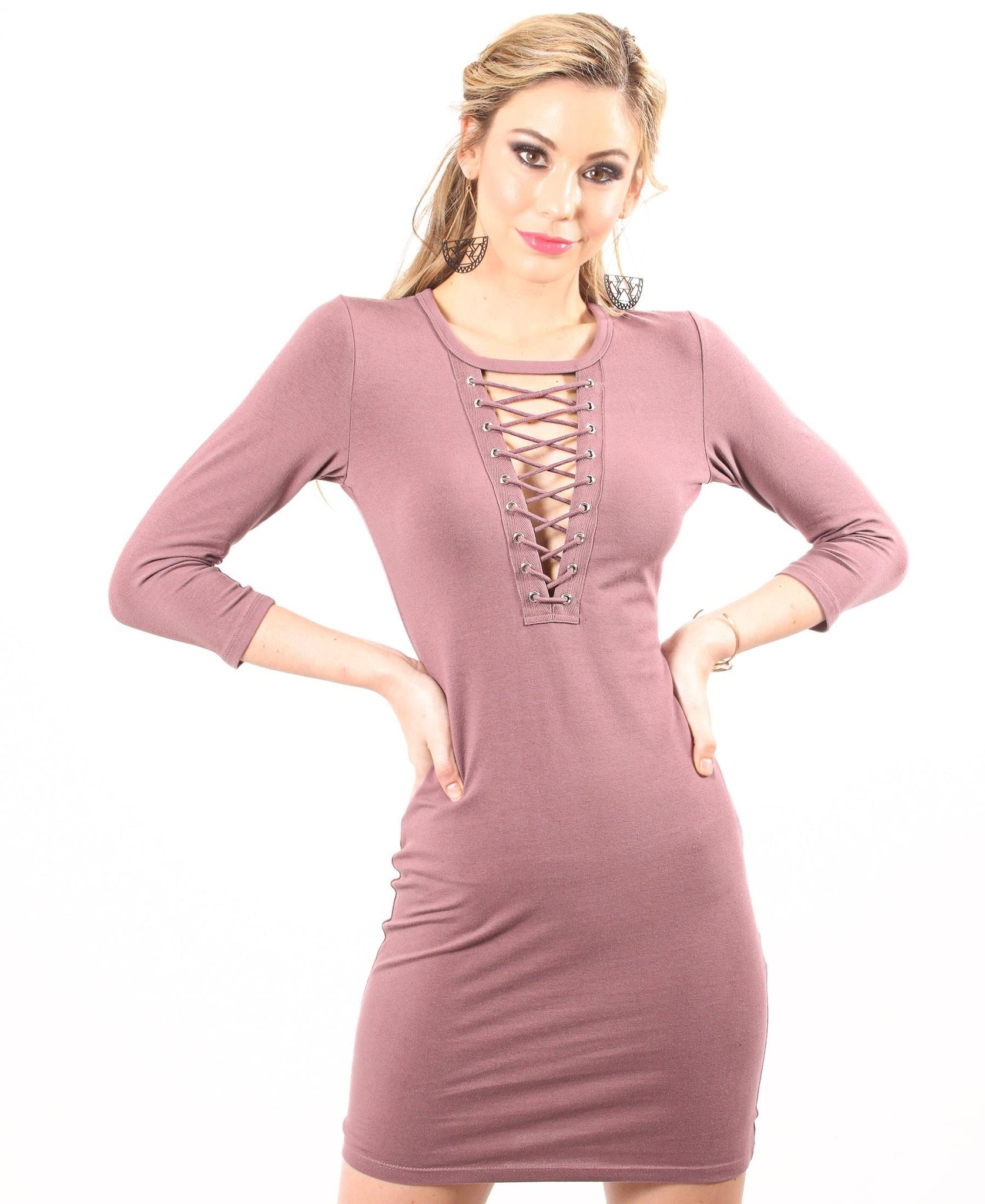 Corset Neckline Bodycon Dress - Pink