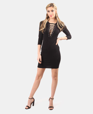 Corset Neckline Bodycon Dress - Black