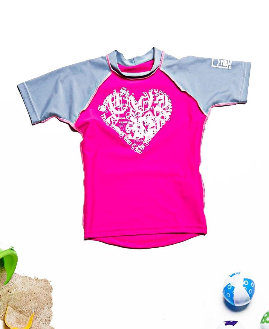 Kids Short Sleeve Suntop - Pink