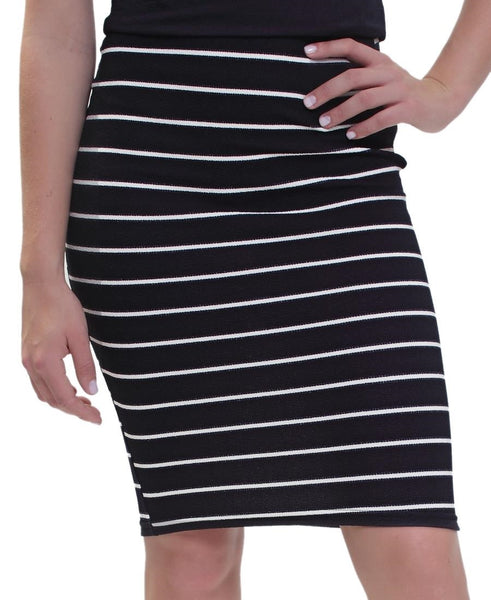 Striped Pencil Skirt - Navy
