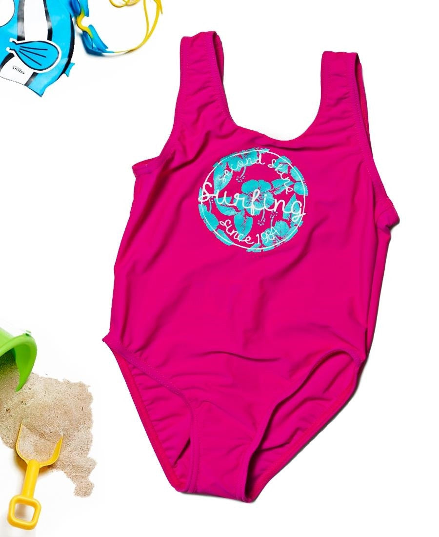 Girls One Piece Bather - Pink