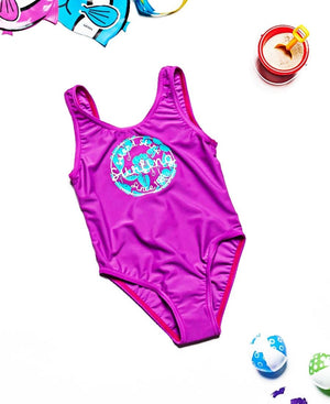 Girls One Piece Bather - Purple