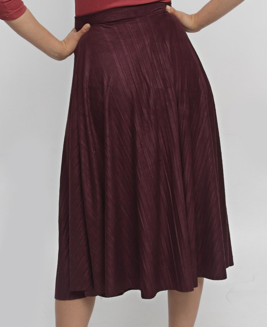 Pleated Skirt - Burgundy