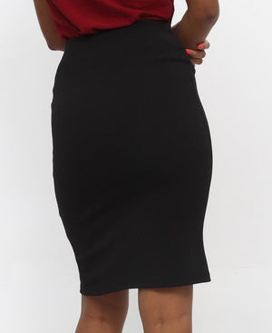 Side Button Skirt - Black