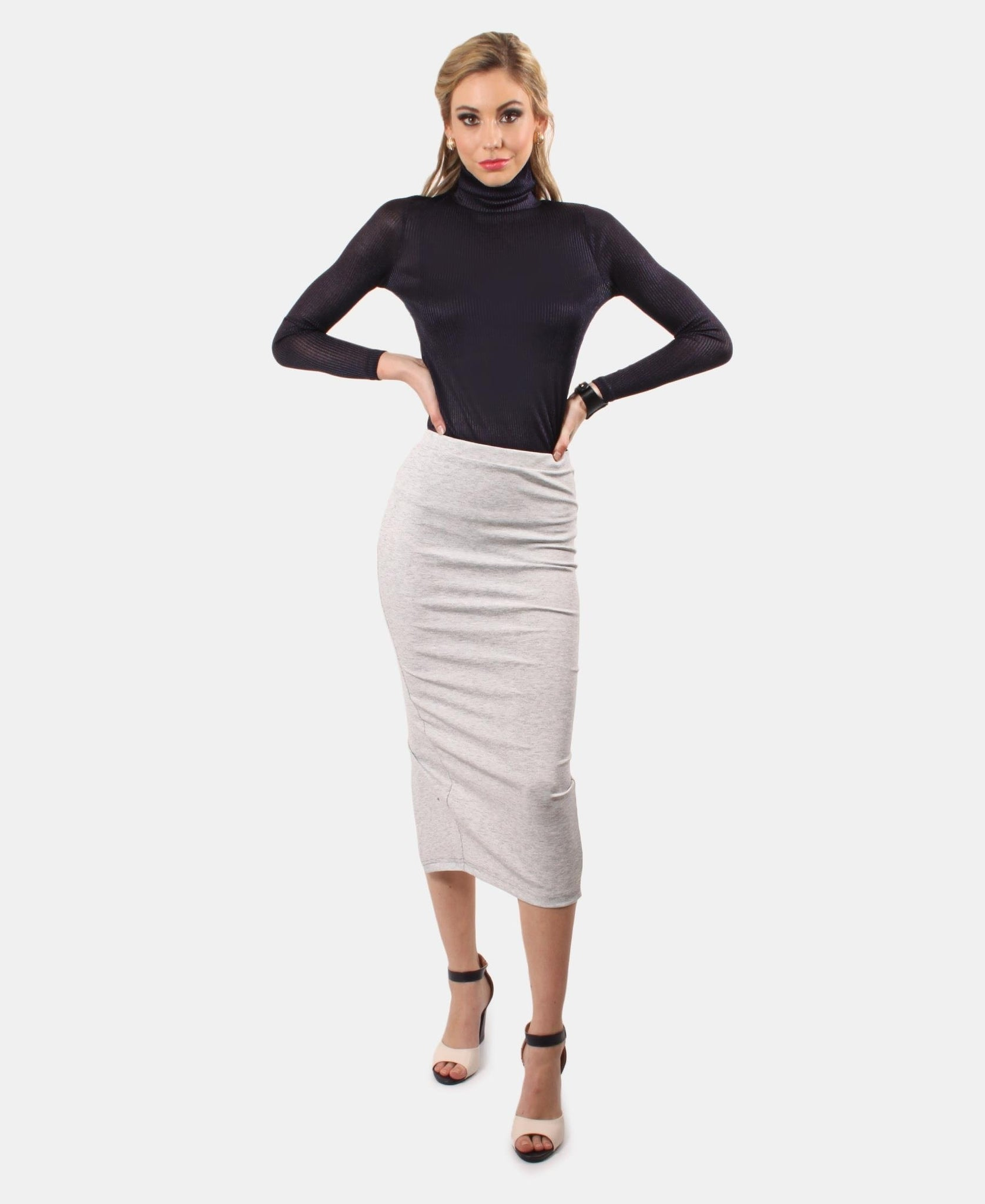 High Waisted Slinky Back Slit Skirt - Grey