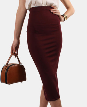 High Waisted Slinky Back Slit Skirt - Burgundy