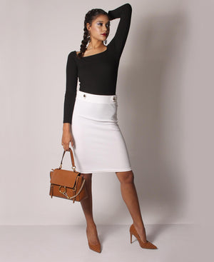 High Waisted Button Detail Skirt - White
