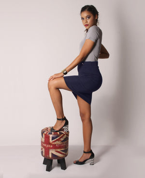 High Waisted Button Detail Skirt - Navy