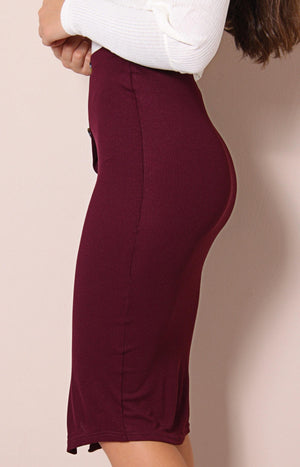 Button Front Midi Skirt - Burgundy - planet54.com