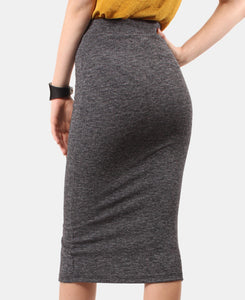 Button Front Midi Skirt - Grey