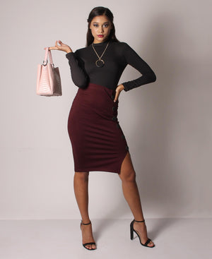 High Waist Side Button Skirt - Burgundy