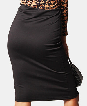 High Waist Side Button Skirt - Black