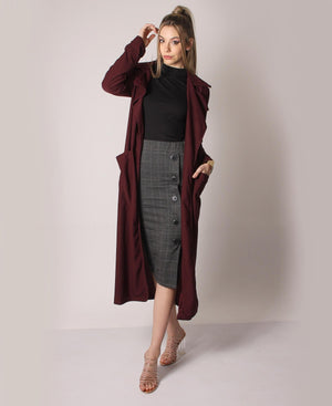 High Waist Side Button Skirt - Grey