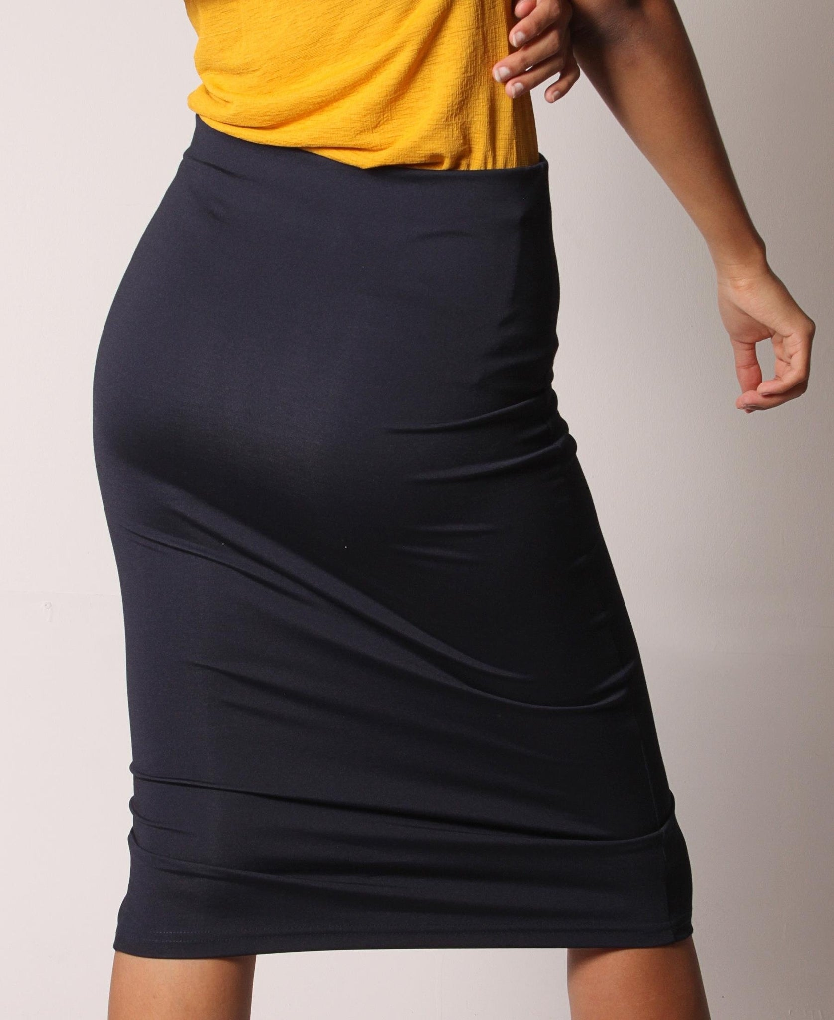 High Waist Side Button Skirt - Navy