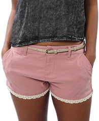 Lace Trim Shorts with Belt - Pink