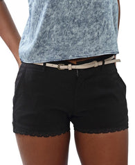 Lace Trim Shorts with Belt - Black