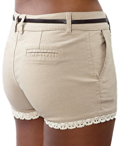 Lace Trim Shorts with Belt - Beige