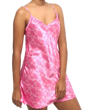 2 Piece Printed Satin Gown And Chemise Set - Pink