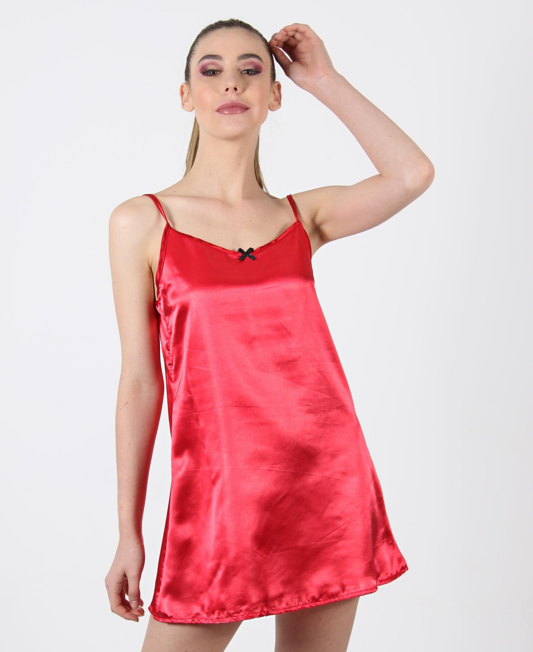 Satin Strappy Chemise - Red