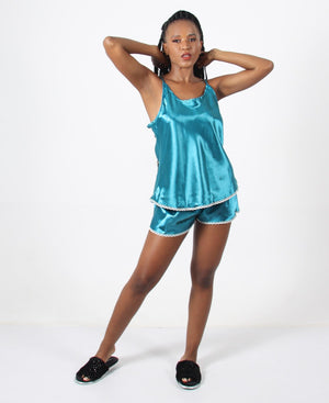 Satin Short Pyjama Set - Teal