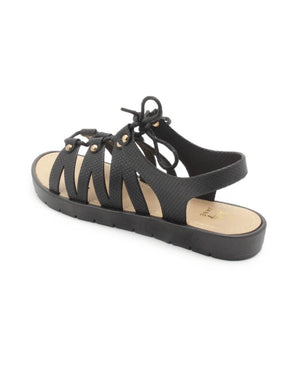 Lace Up Jelly - Black