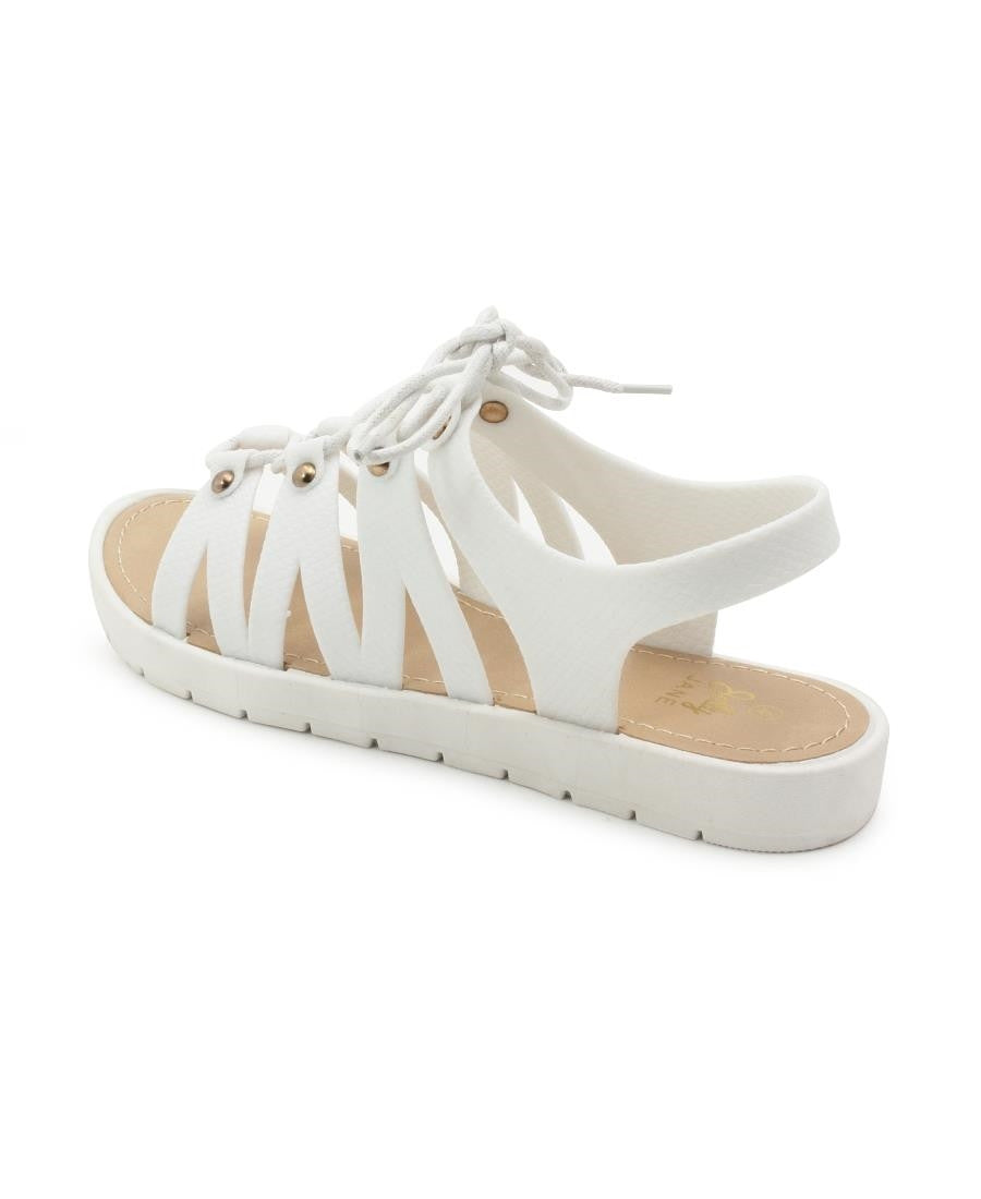 Lace Up Jelly - White