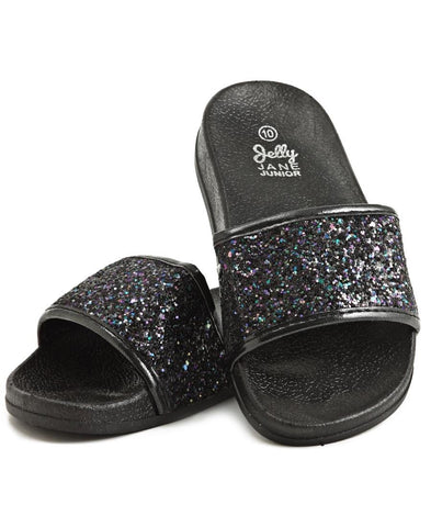 Girls Glitter Sandals - Black