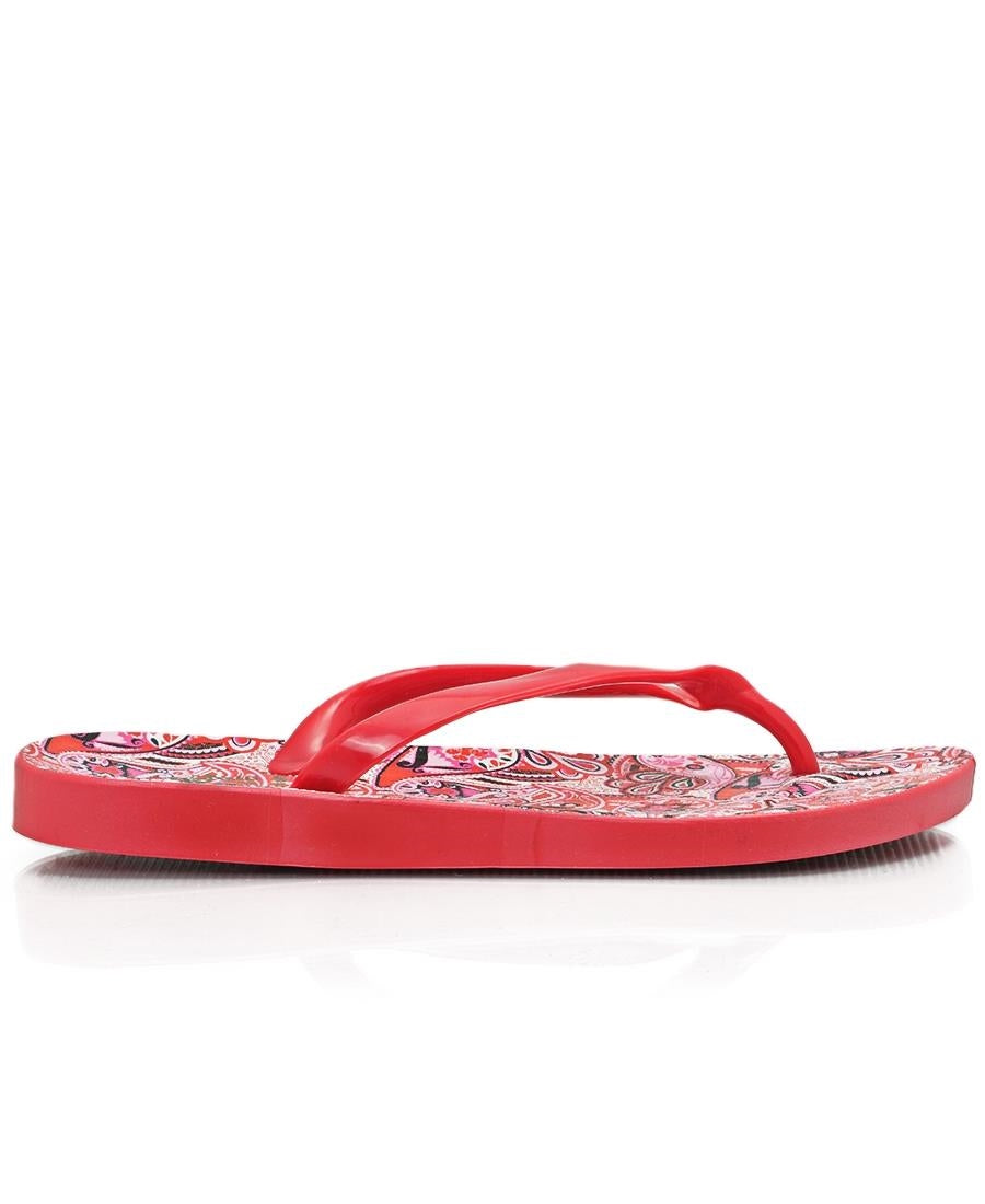 Paisley Print Jelly Sandals - Red