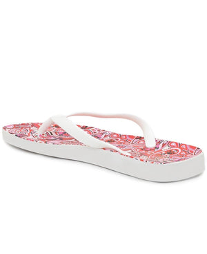 Paisley Print Jelly Sandals - White
