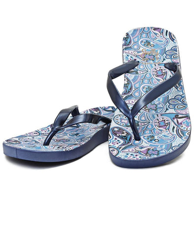 Paisley Print Jelly Sandals - Navy