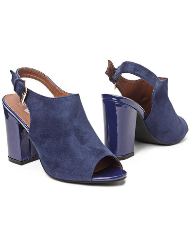 Block Heel - Navy